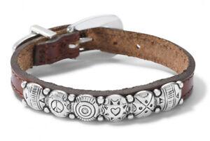 Brighton Silver Brown Leather Harmony Bandit Buckle Boho Conchos Bracelet New