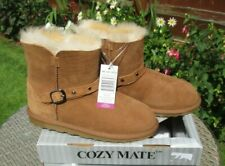 Girls Sheepskin Boots Cozy Mates Ladies Buckle Sheepskin Boots UK 3 Chestnut