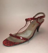 "Vintage 1970s - 1980s Red Snakeskin T Strap Kitten Heels Size 5 Narrow 2.5"" Heel"