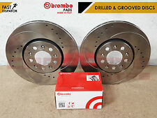 FOR NISSAN SKYLINE R33 2.5 T GTS-T FRONT GROOVED 296MM BRAKE DISCS & BREMBO PADS
