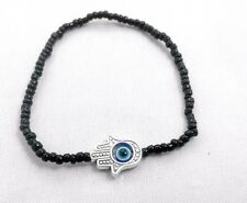 Hamsa Black beads Hand of Fatima Amulet KABBALAH LUCKY BRACELET Against Evil Eye