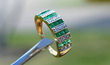 Solid 14K Yellow Gold Genuine Emerald & White Sapphire Ring Sz 6