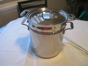 ALL-CLAD 8 Qt Multi Cooker Stock Pot WITH Pasta Strainer & WRONG Lid EUC