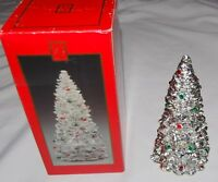 """Madison Avenue Silver Christmas Tree 8"""" Red Green Jewels Box"""