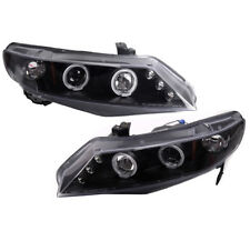 FOR 06-08 HONDA CIVIC 4DR LX EX SI TWIN LED HALO PROJECTOR HEADLIGHTS BLACK USED