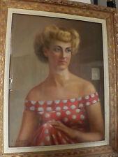 Quadro antico pastello ritratto femminile cornice laccata pittore Francese