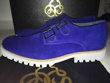 BNIB Stunning Opening Ceremony Sz 7 40 Blue Suede Shoes Double Monk Strap