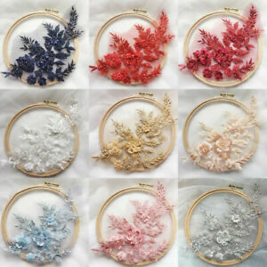 1x Embroidery Lace Flower Bridal Applique Beaded Tulle DIY Wedding Dress Crafts