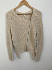 MAJE Torsade Knit Cardigan Jacket Zip up Ecru Beige Size 2 Small NWT