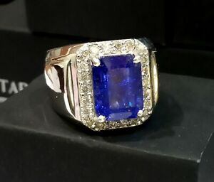 925 Silver 8.05 Ct Natural Tanzanite Octagon Gemstone Sizable Ring Fine Jewelry