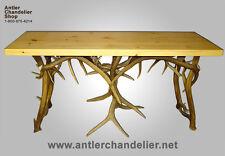 REAL ANTLER MULE DEER/ELK BUFFET/SIDE TABLE, RUSTIC LIGHTING, CHANDELIER LAMP