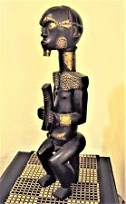"""Amazing Fang Power Byeri 24"""" African Carving Statue Brass Accents Xrare!"""