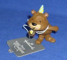 Hallmark Merry Miniatures Figurine Birthday Bear Party Hat Cupcake Candle 2016