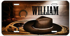 PERSONALIZED CUSTOM VANITY LICENSE PLATE BLACK COW BOY HAT AUTO TAG