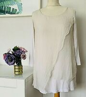 PHASE EIGHT Top Size XS WHITE | Italian SILK Layered Smart Casual Work Blouse