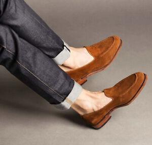 Handmade Men's Tan Formal Loafer Slip On Dress Shoes, Real Suede Office Shoes