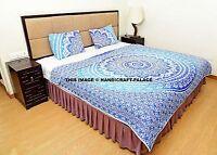 Ombre Mandala Quilted Quilt Indian Reversible Bedding Queen Size Duvet Doona Set