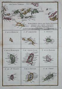 CARIBBEAN - VIRGIN ISLANDS - SUPPLEMENT POUR LES ANTILLES BY R BONNE, 1780.
