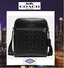 NWT COACH HOUSTON Signature CC Leather Flight Messenger X-Body Bag In BLACK