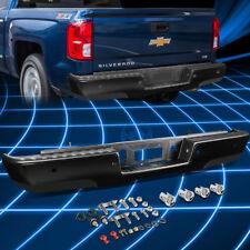 Black Coated Rear Step Bumper+Backup Sensor Hole for 2014-2017 Silverado/Sierra