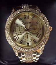 New Womens BEBE Gold Rhinestones 37mm Stainless Steel Bracelet Watch Bling