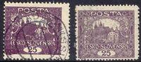 TSCHECHOSLOWAKEI 1919 Hradschin 25 H dunkelviolett VFU ABART: SIEHE FARBDRUCK
