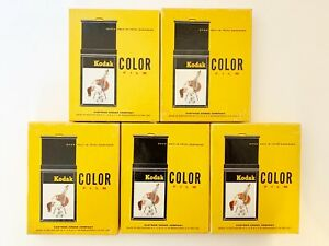 Vintage Lot Of 5 Kodak Color Film Sheets Boxes 50 Sheets Expired