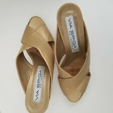 VIA SPIGA  Platform Sandals - NUDE BEIGE GOLD 100% Leather shoes - eu37.5  UK4.5