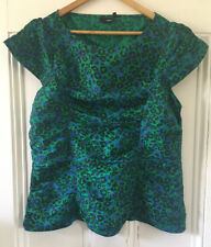 NEXT Women's Green Black Leopard Print Ruched Cap-Sleeved Blouse Top UK 16 EU 44