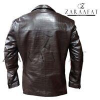 Men's Blazer Coat Jacket 100% Genuine SHEEP Leather Textured Blazer by Zaraafat