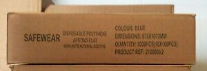 200 x Single Use Flat-Pack Aprons Blue Polythene Catering Nursing PPE Flat Pack