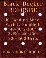 80//100//150//240//400 Grits Black+Decker BDEQS15C 5 Sandpaper Variety Bundle I