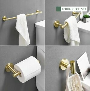 Athena Series BRUSHED GOLD bathroom accessories toilet paper, towel bar, hook +
