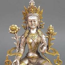 Old Tibet Silver Gilt Tibetan Buddhism Green Tara Buddha Statue