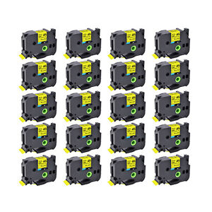20PK Black on Yellow Fits Brother HSe-651 Heat Shrink Tube Tape 23.6mm