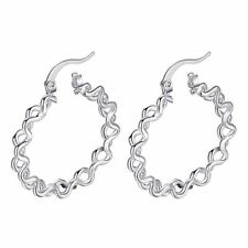 *UK* 925 Silver Plt Small Doodle Hoop Round Earrings Spiral Swirly Twisted 30Mm