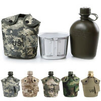 FT- 1L Army Military Water Bottle Camping Hiking Canteen Cup Portable for Outdoo