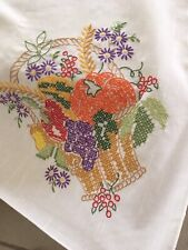 Vintage Linen Tablecloth Needlework Cross Stitch Fall Harvest Basket Turkeys