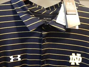 """Notre Dame Under Armour Bnwtags Golf Polo! Navy, Gold 4XL Loose fit"""""""""""""""
