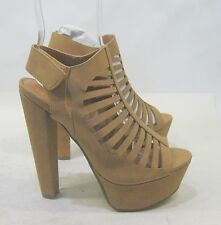 "New ladies Tan 6""High Block Heel 1.5""Platform Sexy Shoes Size 5.5"