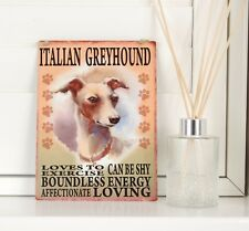 New Italian Greyhound Dog Breed Sign Shabby Chic Vintage Retro Hanging Plaque