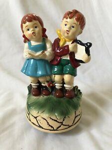 Vintage Hummel Style Singing Boy Girl Wind-up Music Box Musical Laras Theme