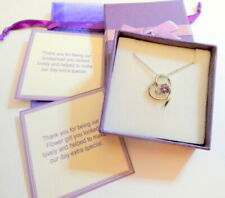 Bridesmaid Flower Girl Gift Purple Crystal Heart Platinum plated Necklace