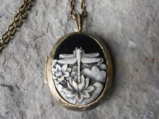 -(BRONZE LOCKET)-- DRAGONFLY (HAND PAINTED) CAMEO LOCKET - INSECT - LOTUS FLOWER