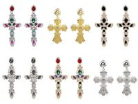 Ladies Womens Punk Rock Gothic Cross Fashion Gold Silver Statement Earrings UK