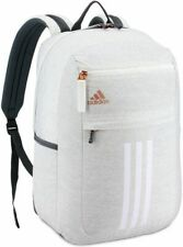 Adidas Backpack League 3 Stripe Laptop Backpack Bag (Jersey White/Rose Gold)
