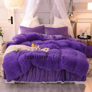 New Plush Shaggy Bedding Set Faux Fur Duvet Cover Quilted Ruffle Bedskirt Fringe