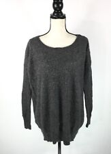 All Saints Womens Sweater Size US 6 Gray Button Shoulder Nylon Angora Blend