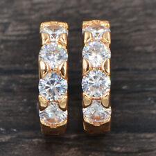 Fashion Women Gold Plated Clear White Cubic Zirconia CZ Hoop Huggie Earrings