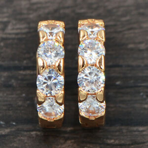 Fashion Women Gold Plated Clear White Cubic Zirconia CZ Hoop Huggie Earrings